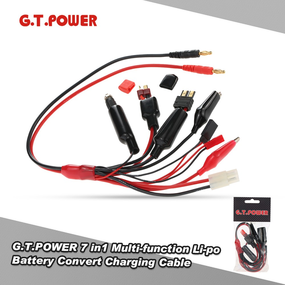 911128-G.T.POWER 7 in1 Multi-function Li-po Battery Convert Charging Cable with Banana Connector for Balance Charger