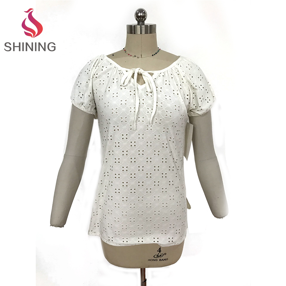 95%POLY 5%SP Simple fashion openwork womens white t shirts design lace style lady t shirt for sale