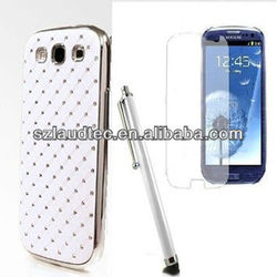 WHITE DELUXE DIAMOND CHROME BLING CASE PHONE COVER FOR SAMSUNG GALAXY S3 I9300
