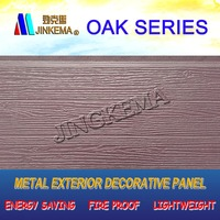 Oak wood PU Exterior Decorative Wall Panel for steel structure villa