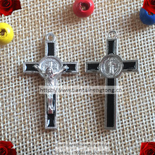 black st. benedict cross, rosary cross, religious part with epoxy