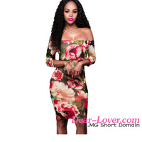 Classic Wholesale 3/4 Sleeves Off-shoulder Reddish Floral Print Dress Modern Ladies Suits