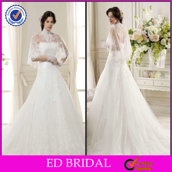 EDW617 Gorgeous High Neck Lace Appliqued Arabic Wedding Dress Picture