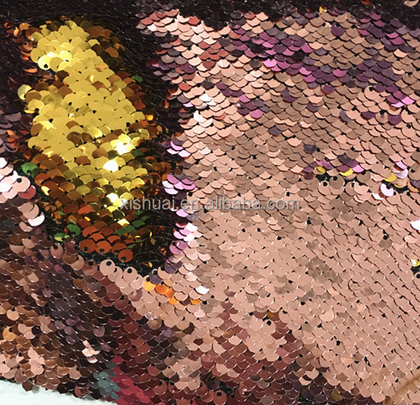 Pink Gold Magic sequins Mermaid Pillow Fabric/Reversible Sequin Fabric Color Changing Fabric