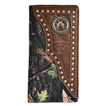 Western men brown gray gun outdoor secretary bifold slim tall long camo mossy oak wallet