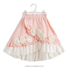 Newest fashion girl Rose Cute Cotton School Young Girl pleated Skirt