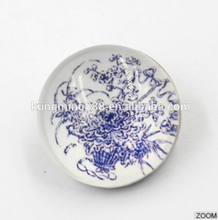 18MM Crystal Glass Chinese Style Blue And White Porcelain Pattern Round Snap Button