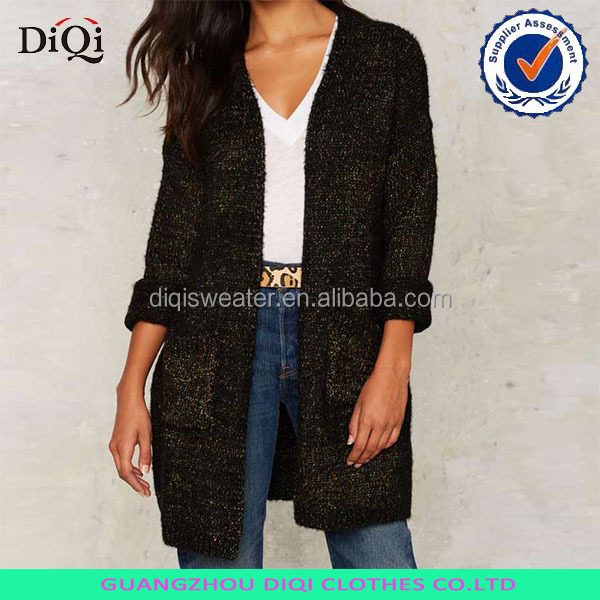 black knit cardigan woman long sweater casual fashion basic model sweater
