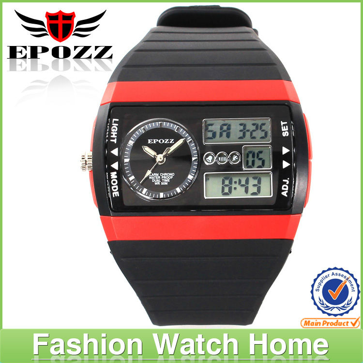Dual movement waterproof plastic man watch auto day date chronograph rubber strap