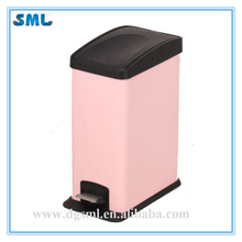 PP COVER COLOR STAINLESS STEEL PINK FOOT PEDAL CLASSICAL DESIGN TRASH BIN