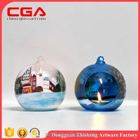 Wholesale christmas Stock candle holder christmas glass ornaments candle holder christmas glass decorations