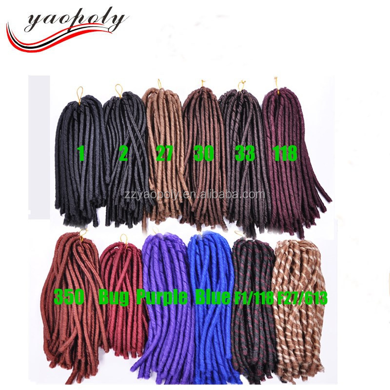 Factory Price Different Color 30roots/pack ebony soft dread lock synthetic braiding hair