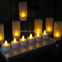 Rechargeable LED Candle with Plastic Holder Set of 12