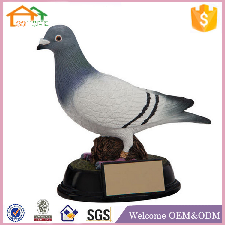 Factory Custom made best home decoration gift polyresin pigeon statues