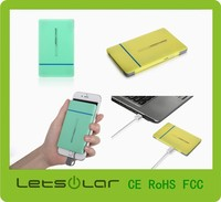 Newest Promotional Portable Ultra Slim Credit Card Power Bank for Iphone 3000mAh with Built-in Micro USB Line