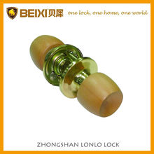 2016 High Quality Beech Wood Polished Brass Finish Tubular Passage Round Knob Door Locks For Doors