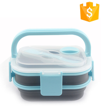 Food grade non-stick collapsible silicone folding microwave lunch box