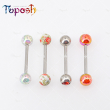 Free Sample UV Acrylic Ball 316L Stainless Steel Shaft 14G Tongue Piercing Ring