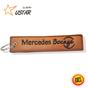 Customized Luxury High Quality Genuine Leather Embroidery Keychain/Embroidered Keyring