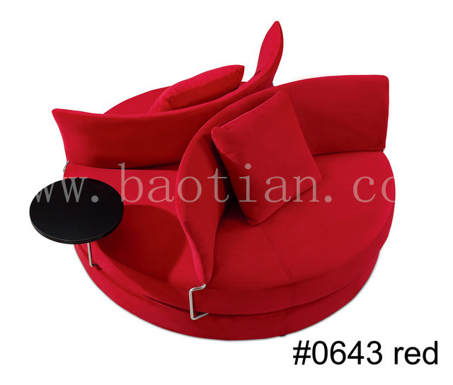 Red Chaise Lounge Sofa, Round Sofa with Coffee table