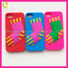 Eco-friendly new fashion funny christmas pattern silicone phone sock case for iphone mobile