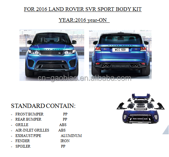 Hot sale body kit from factory directly for Range rover SVR