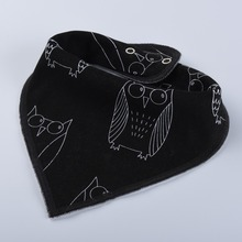 Hot sales printed soft silicone organic cotton baby bibs triangle wholesale