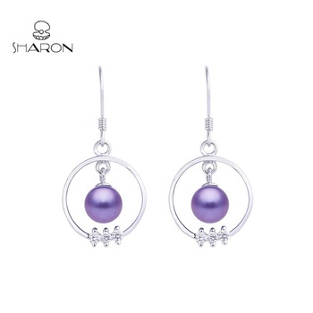 Fashion European Style 925 Sterling Silver Pearl Earring For Women Circle Hoop Earrings