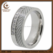 Carbon fiber inlay diamond drill bit engagement ring gents mens diamond ring for sale