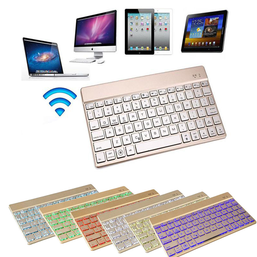 Portable Wireless Keyboard Mini Ultra Slim Thin Aluminum Backlit Bluetooth Wireless Keyboards for iPhone iPad Smartphone Tablet