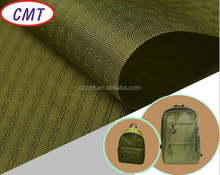 Popular design 400D green nylon double lines ripstop oxford fabric for bags