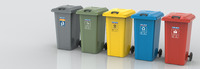 120/240 L Waste Bin in Yellow, Red and Blue