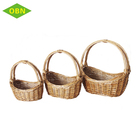 Durable wicker gift basket wholesale boat shape cane basket with handle