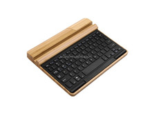 DIHAO Handcrafted Bamboo Wood Universal Wireless Bluetooth 3.0 Keyboard W Built-in Device Stand