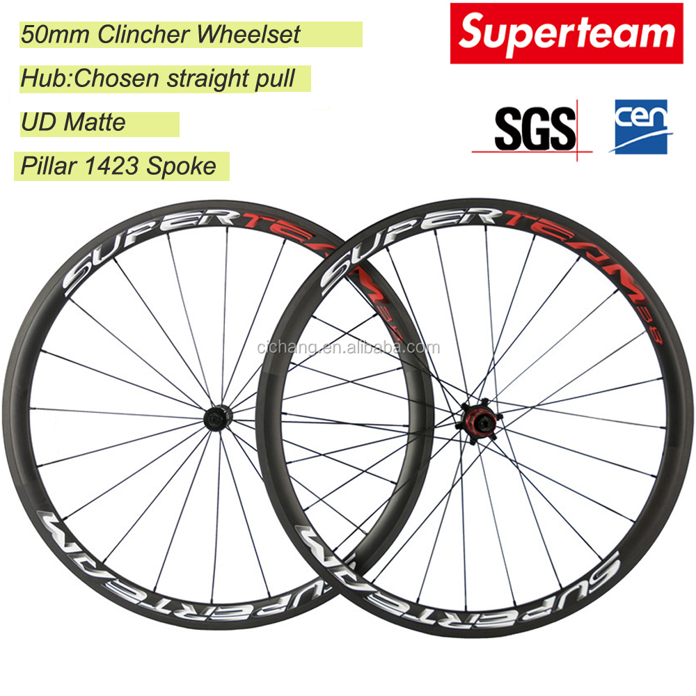 Superteam 700C 38mm Clincher Road Bike Wheels Road Bicycle Wheels Carbon Wheelset Chosen Hubs