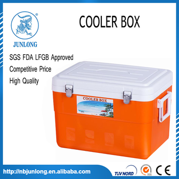 Portable Plastic Orange And White 45L Cooler Box