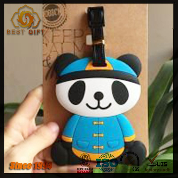 Custom panda pvc luggage tag