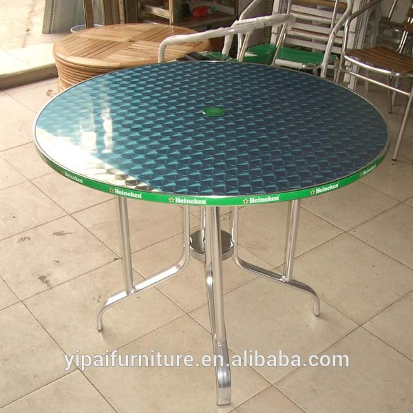 big size stainless steel restaurant table with umbrella hole YT90B