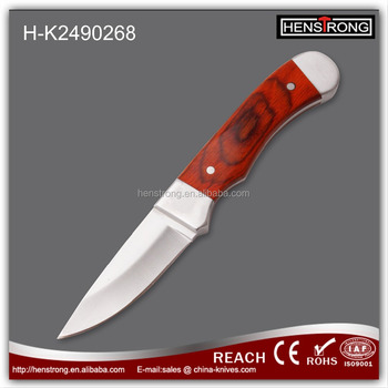 Wood handle Camping Knife with sheath