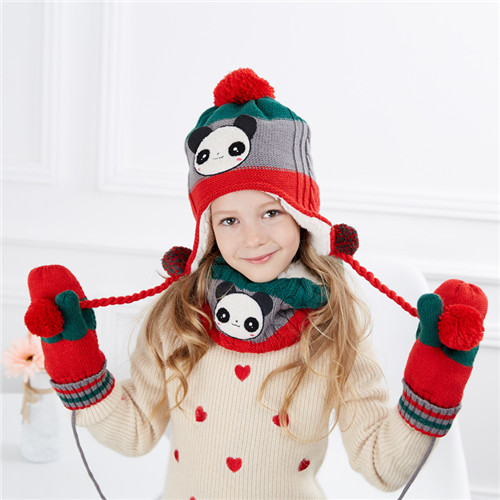 100%Cashmere,Scarf and Hat Glove Set fashion knitted pattern animal hat scarf gloves