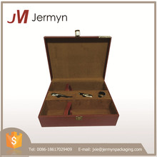 PU leather cover portable custom wooden wine storage case for wholesale