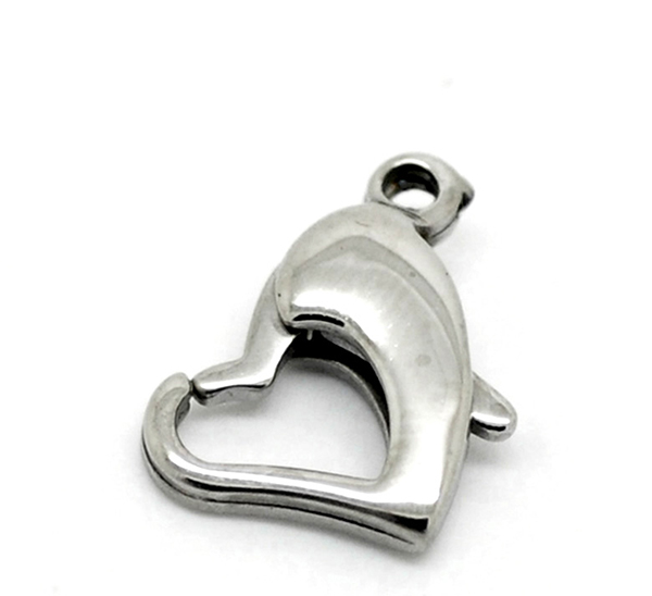 Jewelry Findings 5PCs Silver Tone Stainless Steel Heart Lobster Clasps