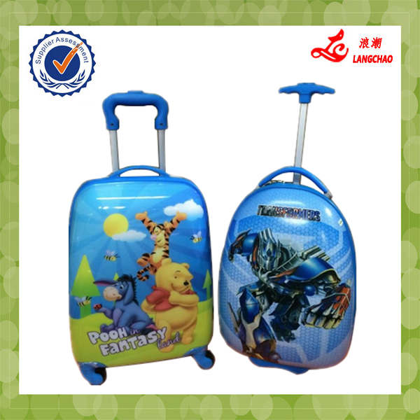 2015 New Design Blue Color Cartoon Kids School Luggage Bag Waterproof ABS+PC Egg Trolley Case
