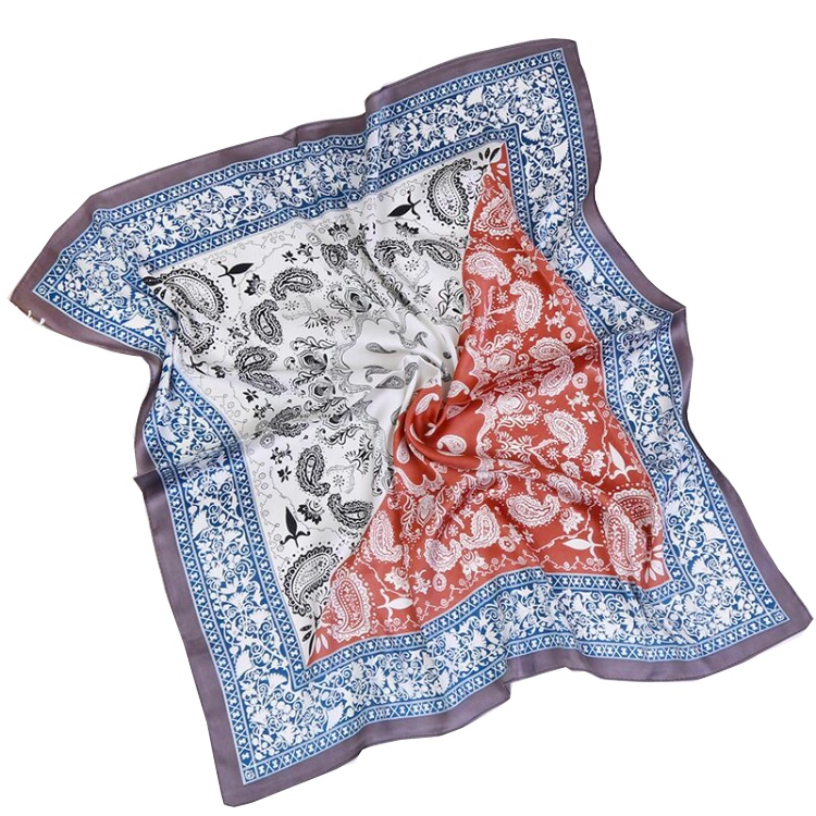 Sophisticated Screen Digital Print Lady Pure 100% Silk Hand Hem Pocket Square <strong>Scarf</strong>