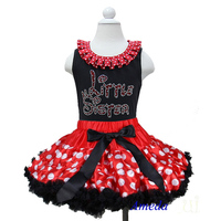 Red White Polk Dots Pettiskirt with Collar Bling Rhinestone Red Little Sister Black Tank Top 1-7Y
