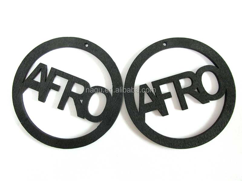 Black Color AFRO Wooden Earrings