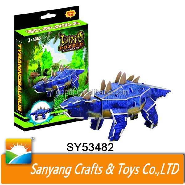 Cartoon dinosaur custom 3d puzzle child paper puzzle