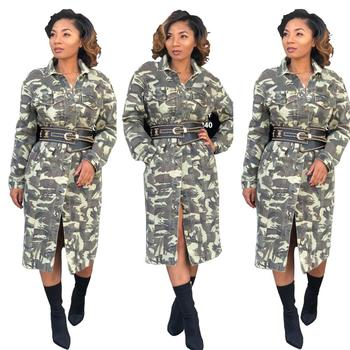 9044  long style and heavy camo coats with belt women winter coats