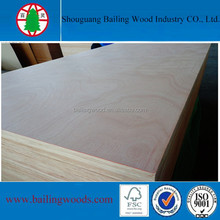 15mm poplar core two time hot press Okoume veneer Plywood