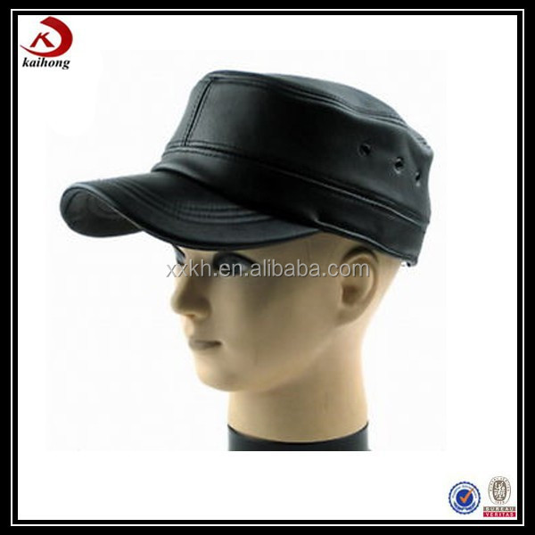 Custom military baseball hats black leather military cap